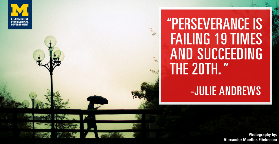 """Perseverance is failing 19 times and succeeding the 20th."" -Julie Andrews"
