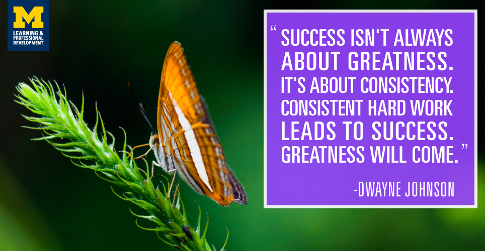 """""""Success isn't always about greatness. It's about consistency. Consistent hard work leads to success. Greatness will come."""" -Dwayne Johnson"""