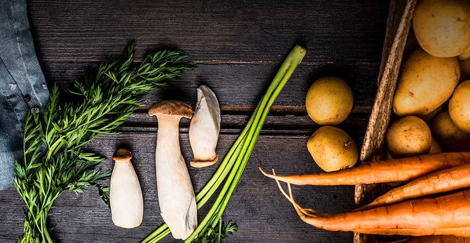 cut carrots, leafy greens and other vegetables