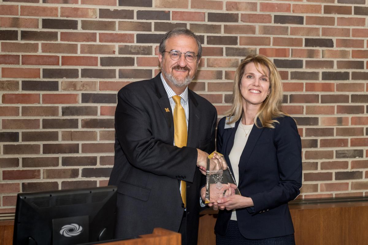 President Schlissel (left) with individual award winner Teri Grieb