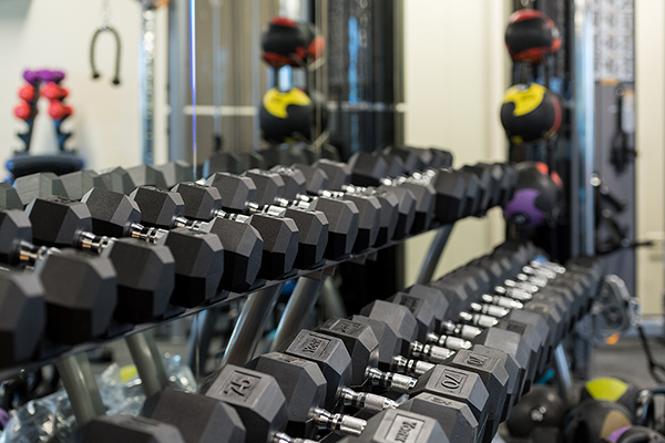 Free weights at the U-H South Wellness Center