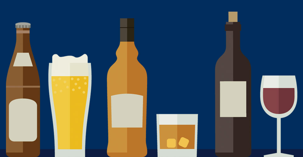 illustrations of various types of alcoholic beverages