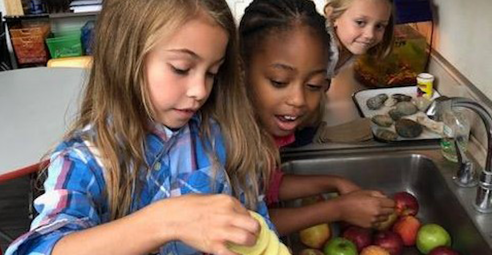 students tasting apples
