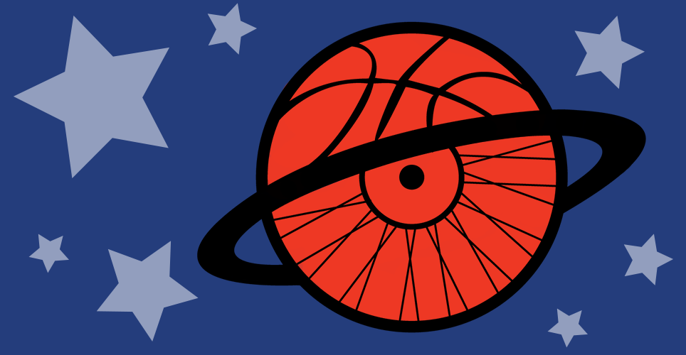 A wheelchair wheel and a basketball hoop combined to form a circle going through a basketball hoop, illustrated stars shapes in the background