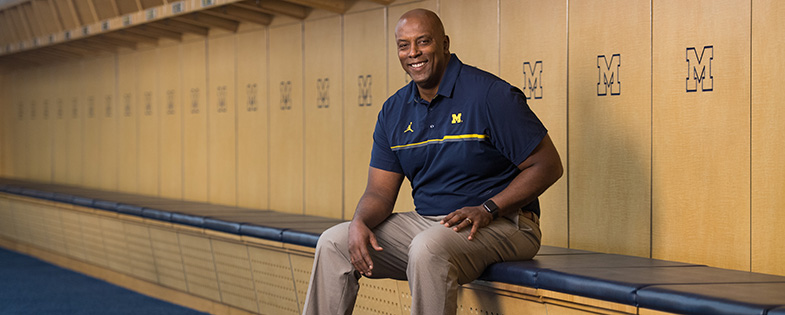 Brian Townsend sitting in UM locker room