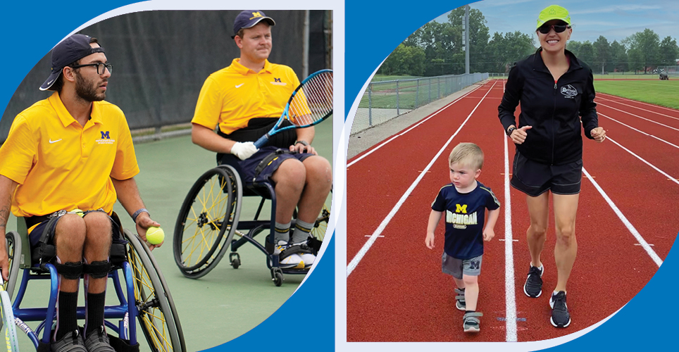 Caiden and Matt playing doubles wheelchair tennis and Julie and her son Owen running on a track.