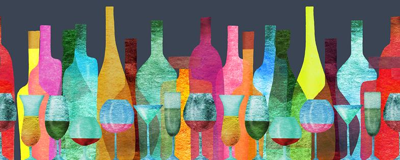illustration of colorful bottles