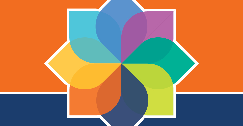 colorful graphic with petals used to illustrate the various dimensions of well-being