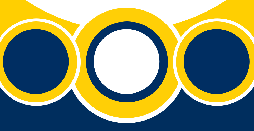 Maize and Blue circles from Connecting the Dots conference design