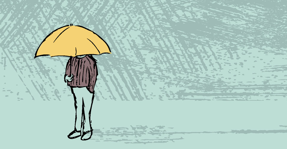 Illustration of someone under an umbrella with gray background
