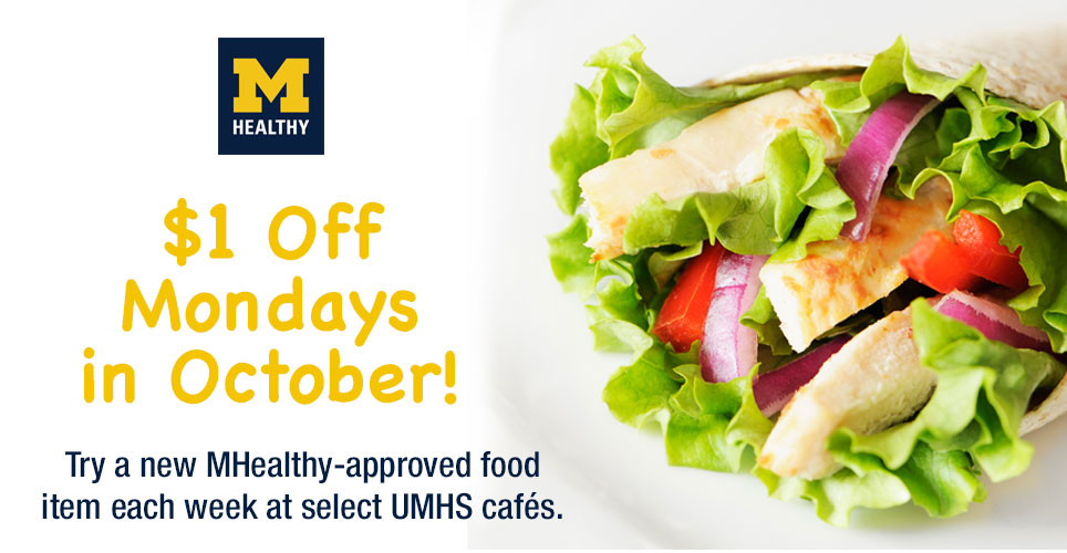 Get $1 off select MHealthy foods every Monday in October.