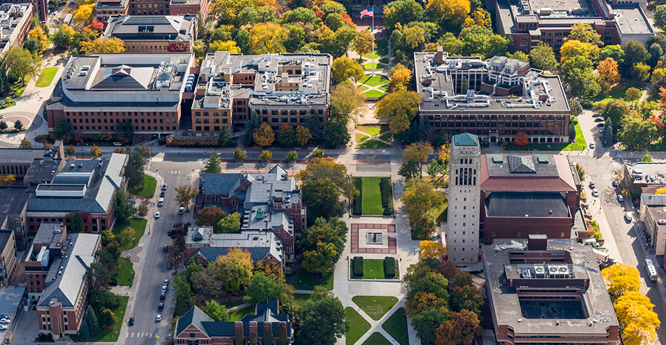 Arial view of the U-M campus with buildings, grass, trees.