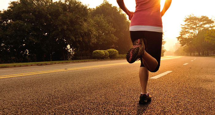 A jogger's legs