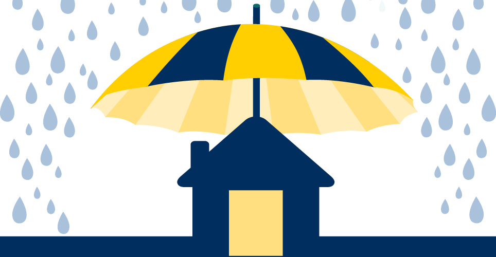 An umbrella sheltering a house on a rainy day.