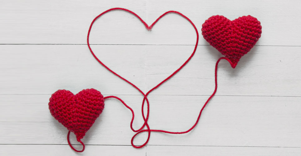 hearts made of red yarn