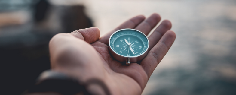 Person holding a compass in their hand