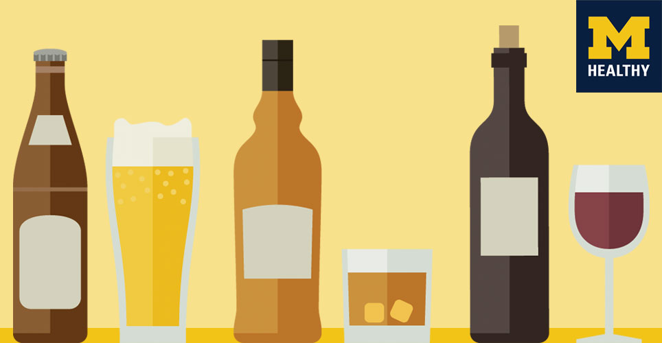 illustrations of alcoholic beverages - beer, wine, cocktail