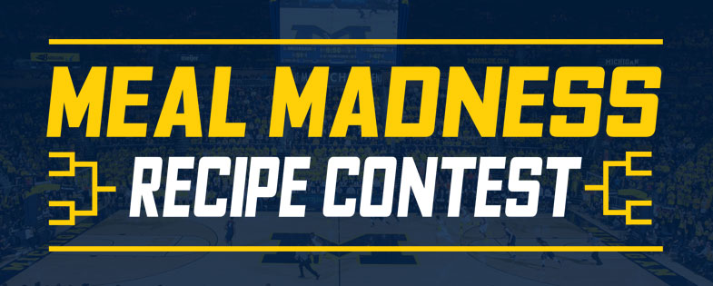 Mead Madness recipe contest with image of U-M basketball game in background