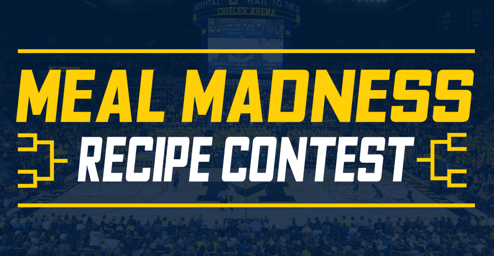 Meal Madness recipe contest with U-M basketball game in background