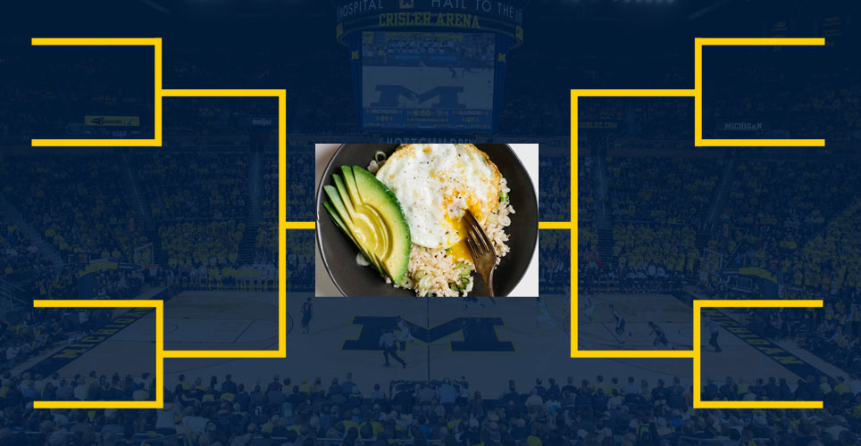 March madness type bracket with healthy entree in the middle