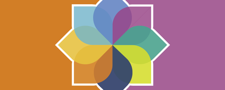 Model of Well-being with orange and purple background to represent social and mental health.