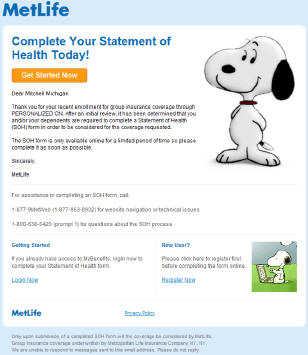 MetLife Complete Your Statement of Health Today example email