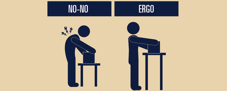 ergo man performing a task the right and wrong way