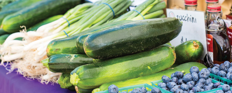 Green Peppers, cucumbers and blueberries at the M Farmers Market