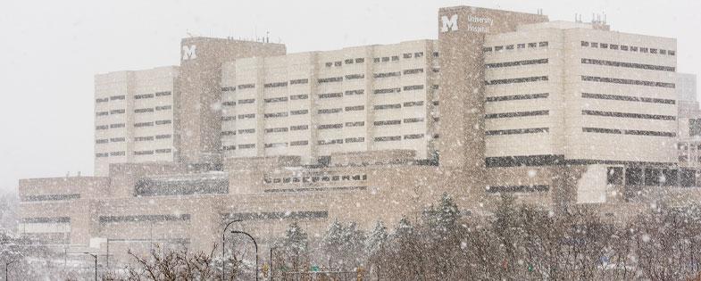 University of Michigan hospital on a snowy day