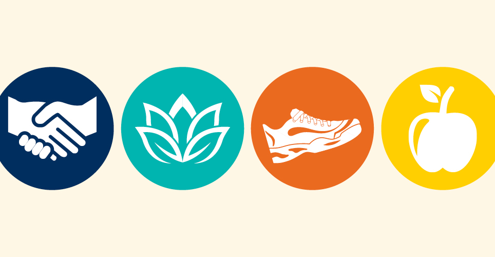 Mini Vacations icons for connection, calm, movement, and nutrition.