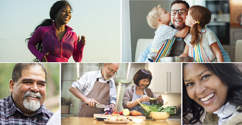 images of a diverse group of people eating health, exercising, smiling, kids kissing with a parent.