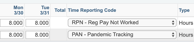 timesheet showing codes RPN for payment and PAN for tracking use of COVID paid time off
