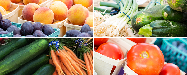 Fresh tomatoes, carrots, fruits and more.
