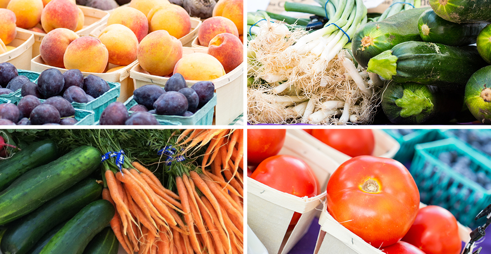 Fresh carrots, tomatoes, peaches, cucumbers, and other produce.