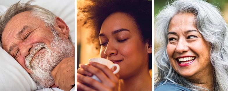 Man sleeping, woman drinking tea, woman smiling.