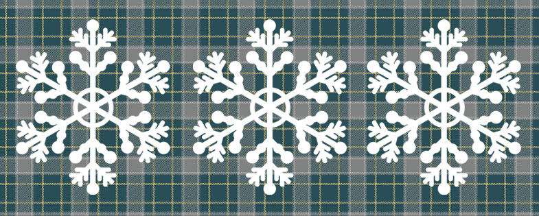 snowflakes with plaid background