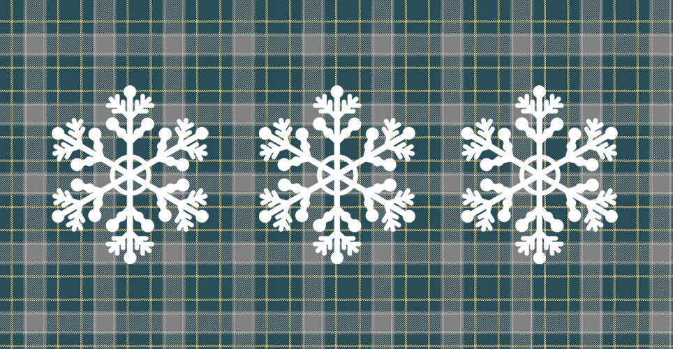 plaid pattern with snowflakes