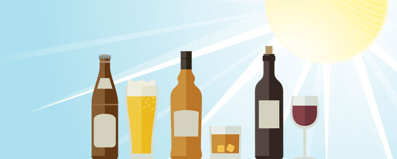illustrated alcohol bottles in front of a sun