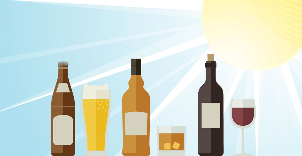 Illustration of beer, wine and liquor.