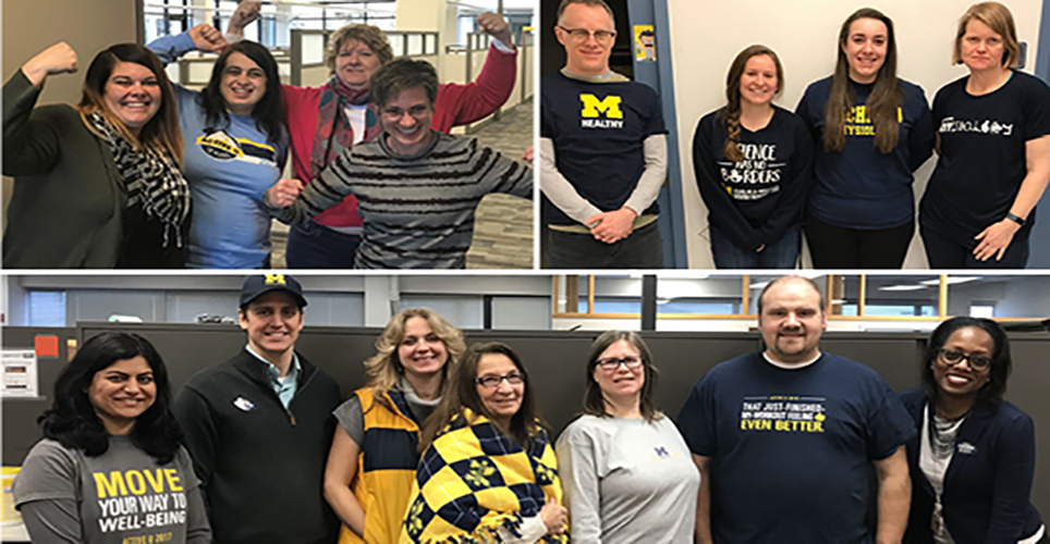 People from across the university in their Active U and U-M clothing