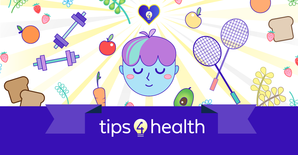 Tips$Health - face with images of health behaviors surrounding it