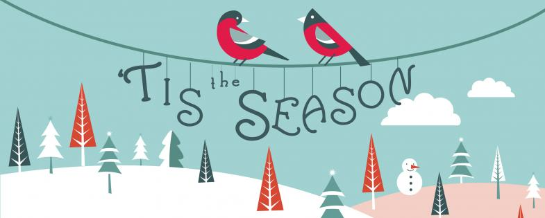 Birds on a wire with Tis the Season hanging off the wire