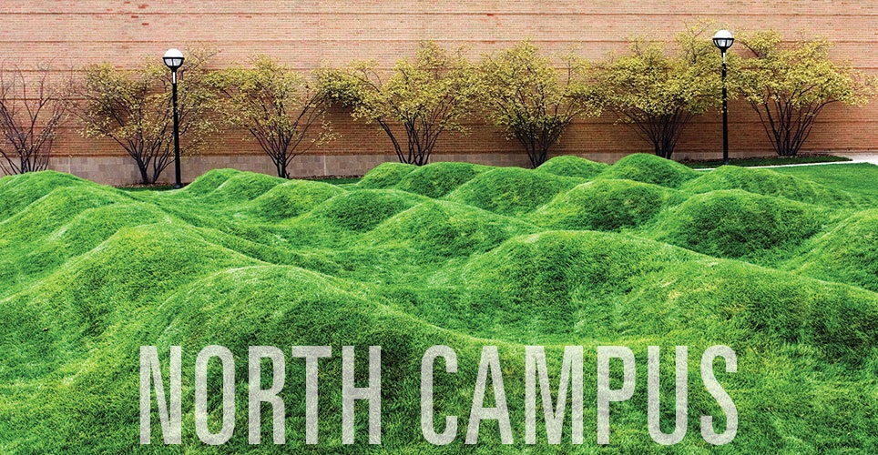 "North campus wave field with the words ""North Campus"" superimposed"