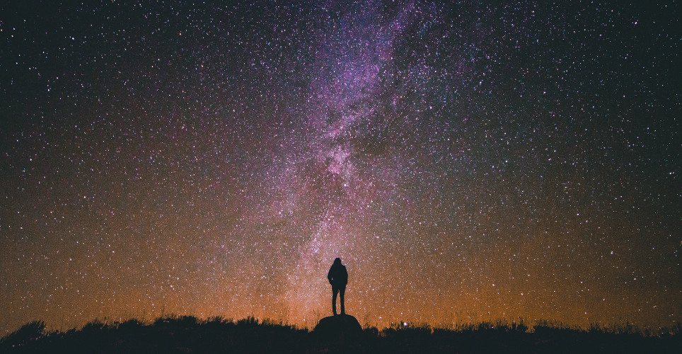 Silhouette of person standing in a field looking up at the milky way