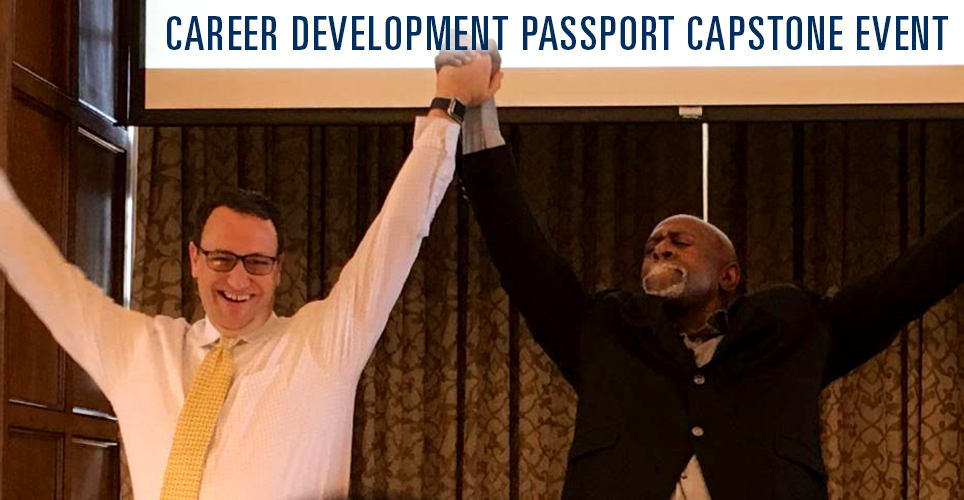 Featured speakers Mark Saine (left) and Lee E. Meadows at Career Development Passport Capstone event