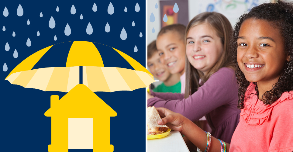 Illustration of a house in the rain and a photo of kids