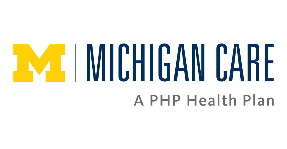 Maize block M with the words Michigan Care A PHP Health Plan to the right of it.