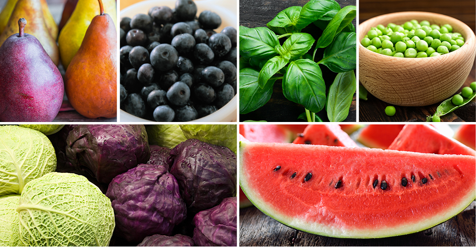 watermelon, blueberries, and other fruits and vegetables