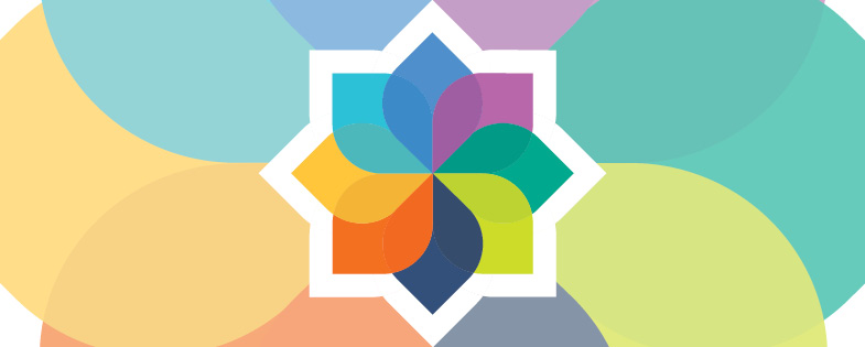 colorful graphic with eight petals representing the dimensions of well-being